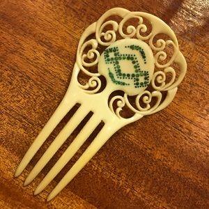 👑Cream 1930's Art Deco Haircomb Green Rhinestones